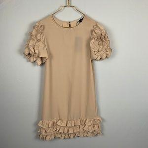 Whitney Eve Gold Ruffle Shift Party Dress NWT